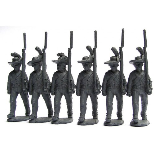British Infantry in slouch hats and roundaboutsí advancing