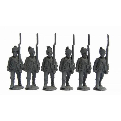 British Infantry advancing shouldered armsíSaratoga uniformsí