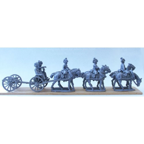 Royal Horse Artillery 6 horse limber team standing with 6pdr (includes 2 seated gunners)