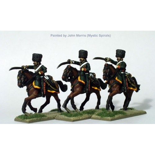 Chasseurs a cheval of the Imperial Guard in campaign dress charging