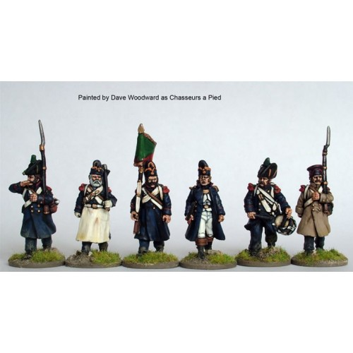 3rd/4th  Chasseurs a pied/ Grenadiers of the Imperial Guard command advancing in greatcoats and various headgear A