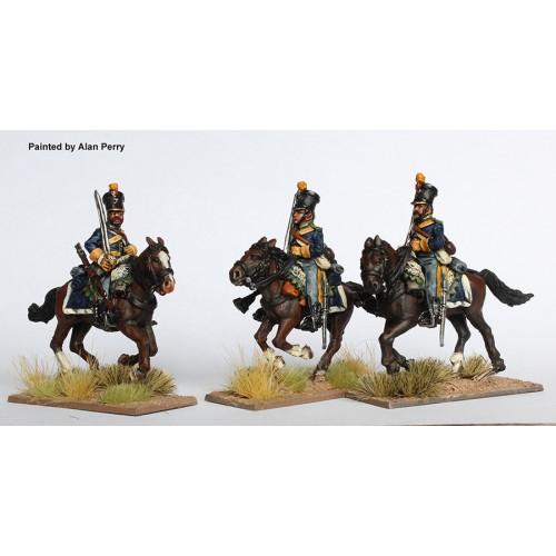 Dragoons of the Alcantara, galloping, swords shouldered (shakos)