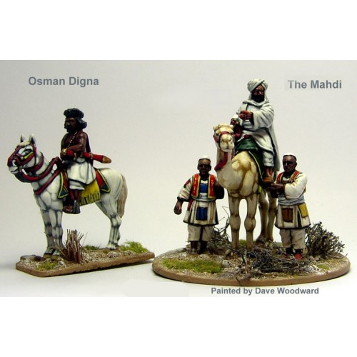 The Mahdi Moun.on a camel attended by two followers plus Osman Digna Moun.on a horse