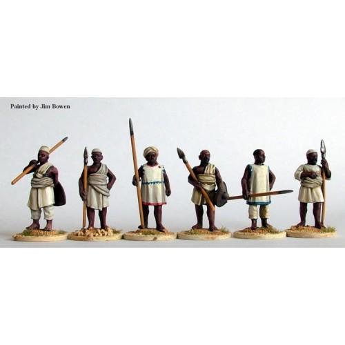 Nile Arab spearmen standing at rest
