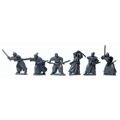 Samurai fighting with swords in everyday clothing