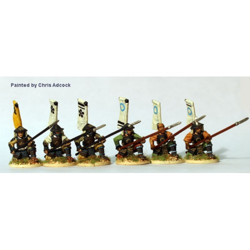 Yari Ashigaru kneeling receiving cavalry