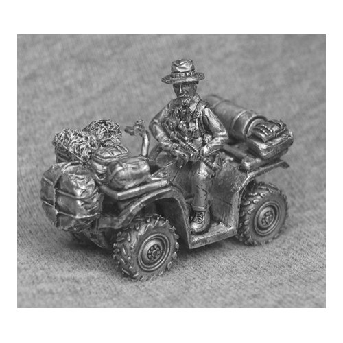 SAS Quad bike with rider and stowage items.