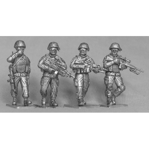 Four US infantry on patrol.