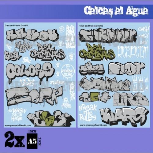 Calcas al agua - Mix Graffitis - Oro y Plata