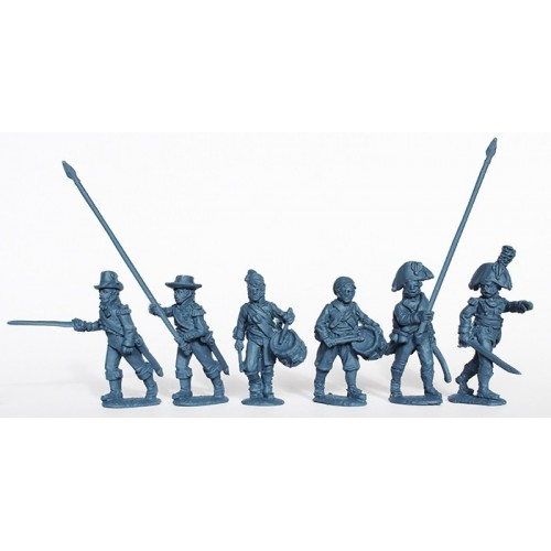 Infantry command advancing in part uniform and civilian clothing 1808-12