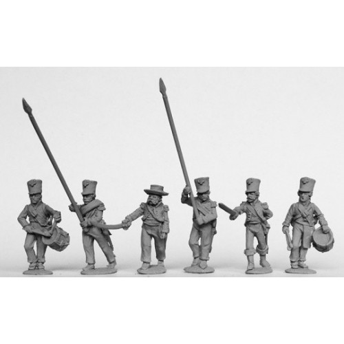 Infantry command in plain belltop shakos and tailless jackets 1810-13