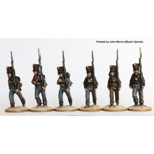 Fusiliers marching in plain belltop shakos and tailless jackets 1810-13