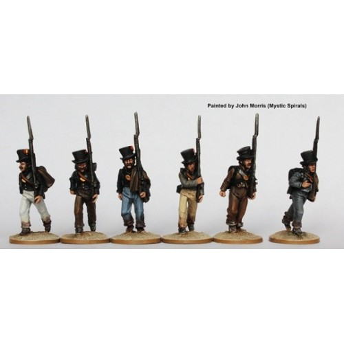 Fusiliers marching in round hats and tailless jackets 1810-13