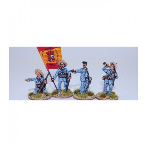 Grupo de mando de infantería española en acción