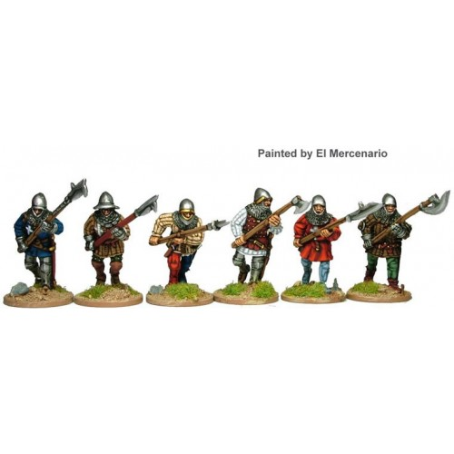 Infantry advancing/running with polearms