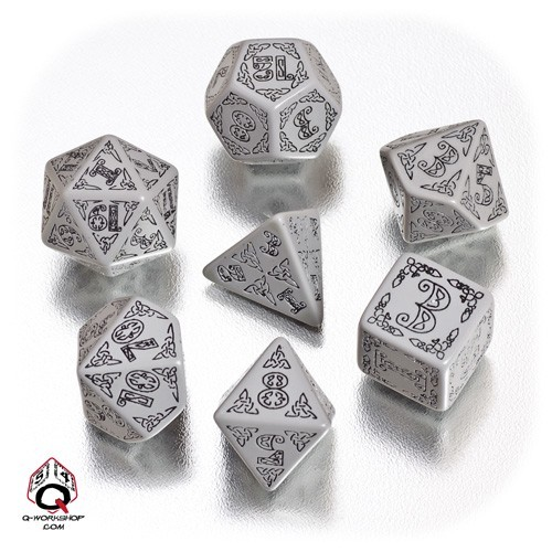 Gray & black Celtic 3D Revised Dice Set