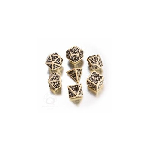 Beige & black Celtic 3D Revised Dice Set