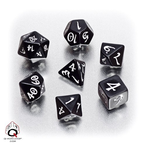 Black & white Classic RPG Dice Set (7)