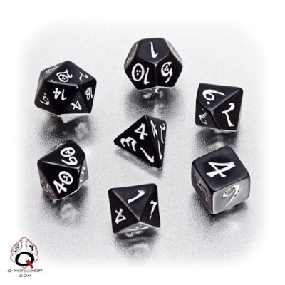 Black & white Classic RPG Dice Set (7)