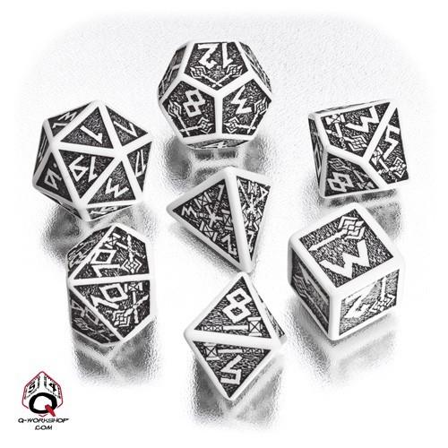 White & black Dwarven Dice Set