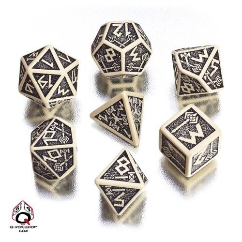 Beige & black Dwarven Dice Set