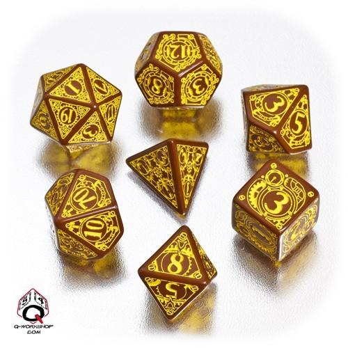 Brown & yellow Steampunk Dice Set