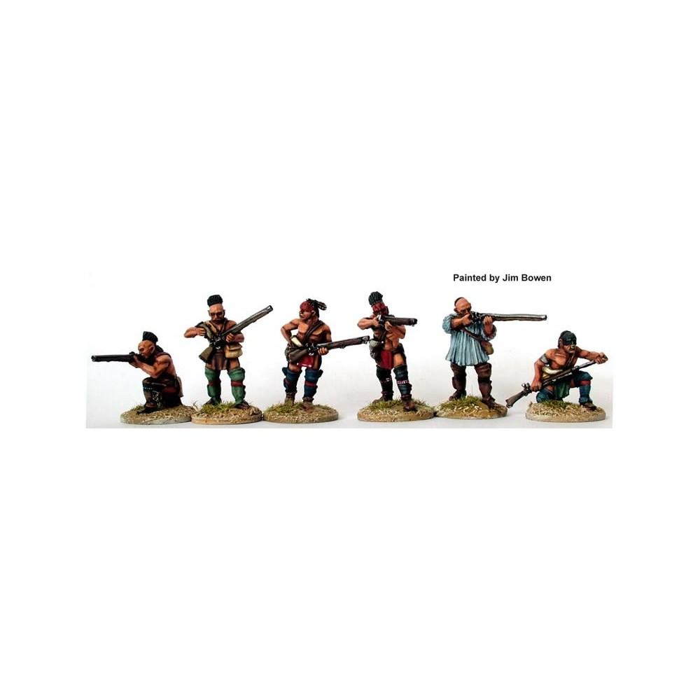Warriors skirmishing with rifles and muskets